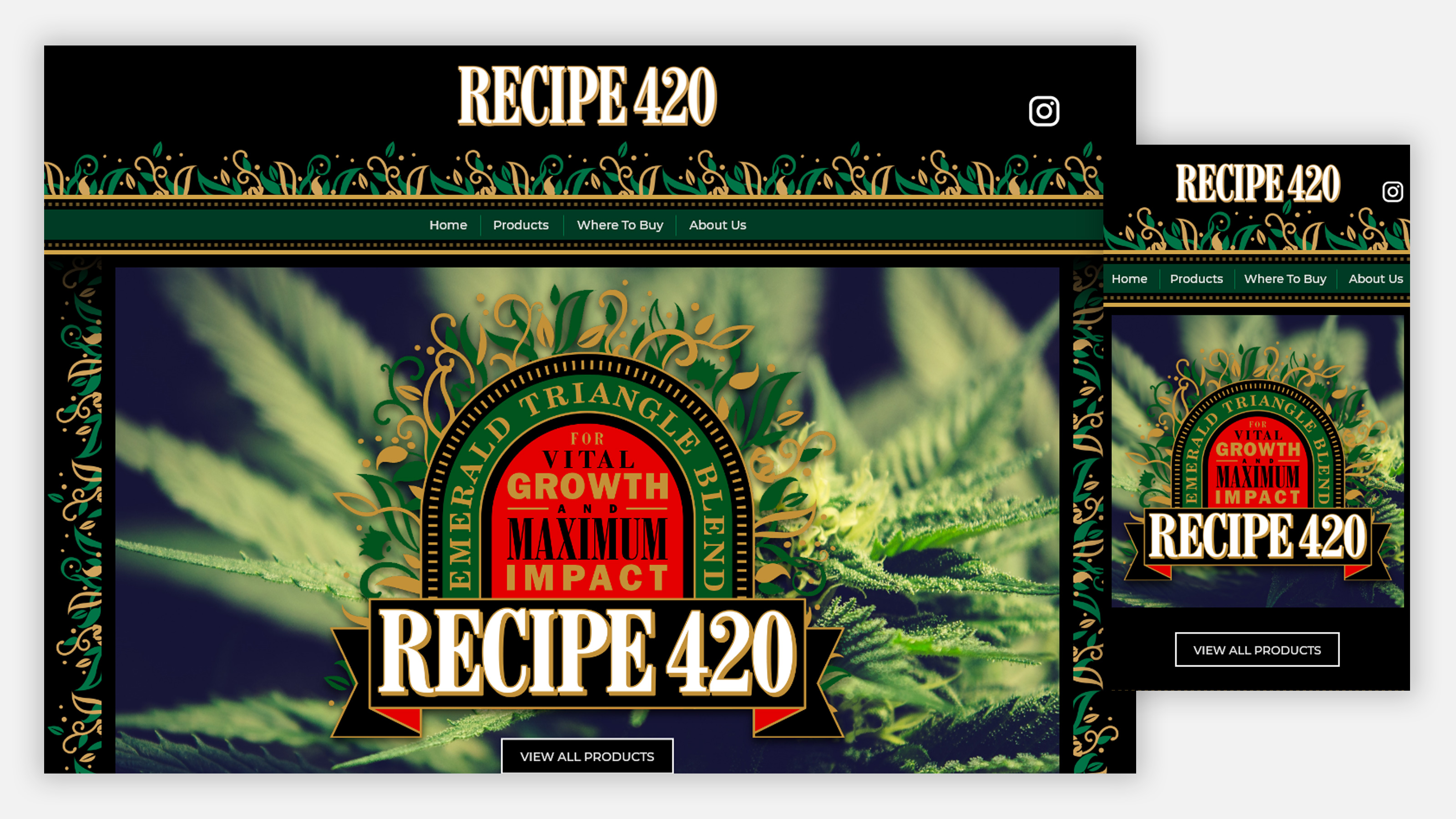 Recipe 420 website home page on desktop and mobile
