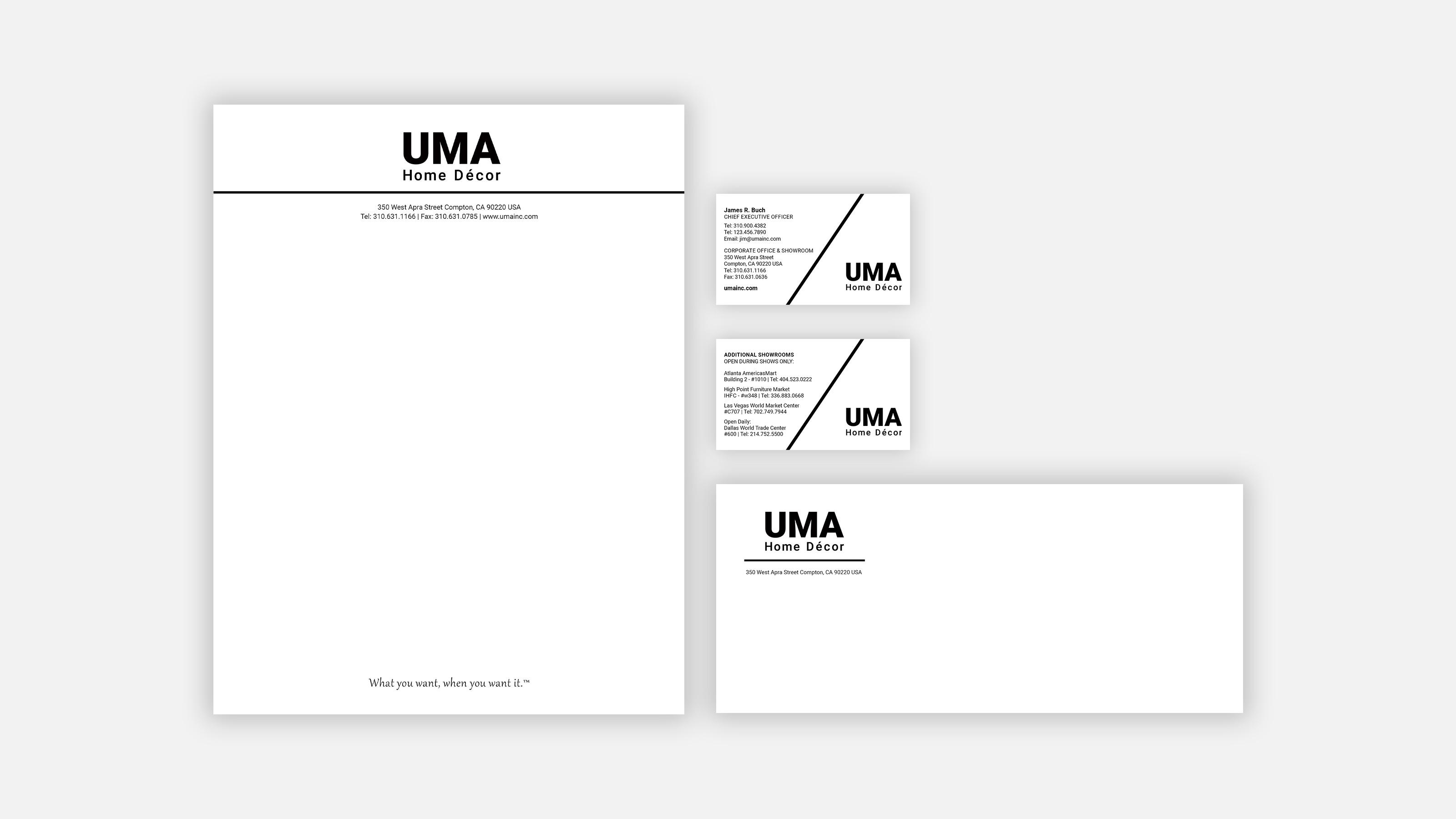 UMA Home Decor, business card, envelopes and letterhead samples