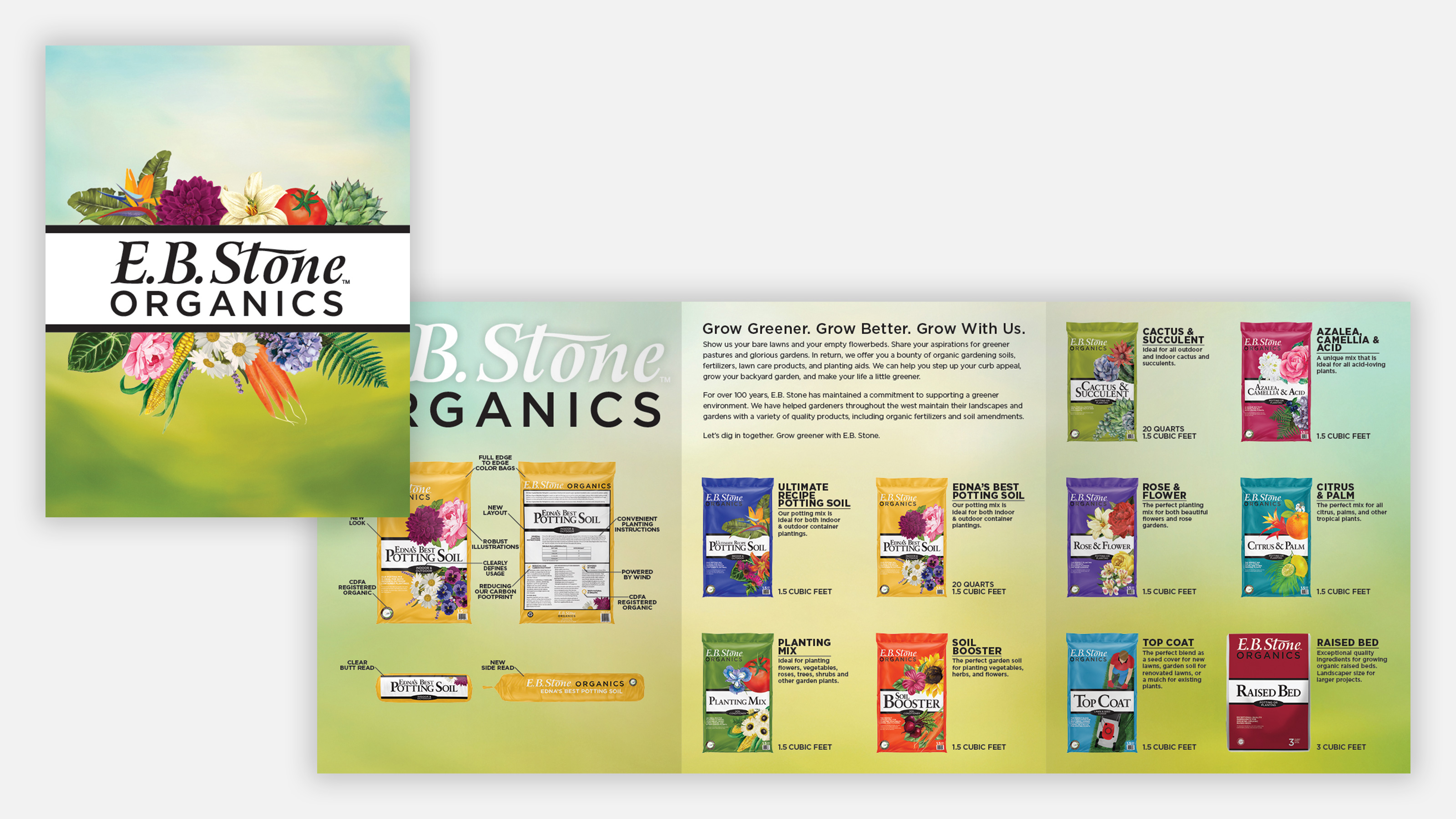 ebstone organics marketing brochures with product shots and descriptions