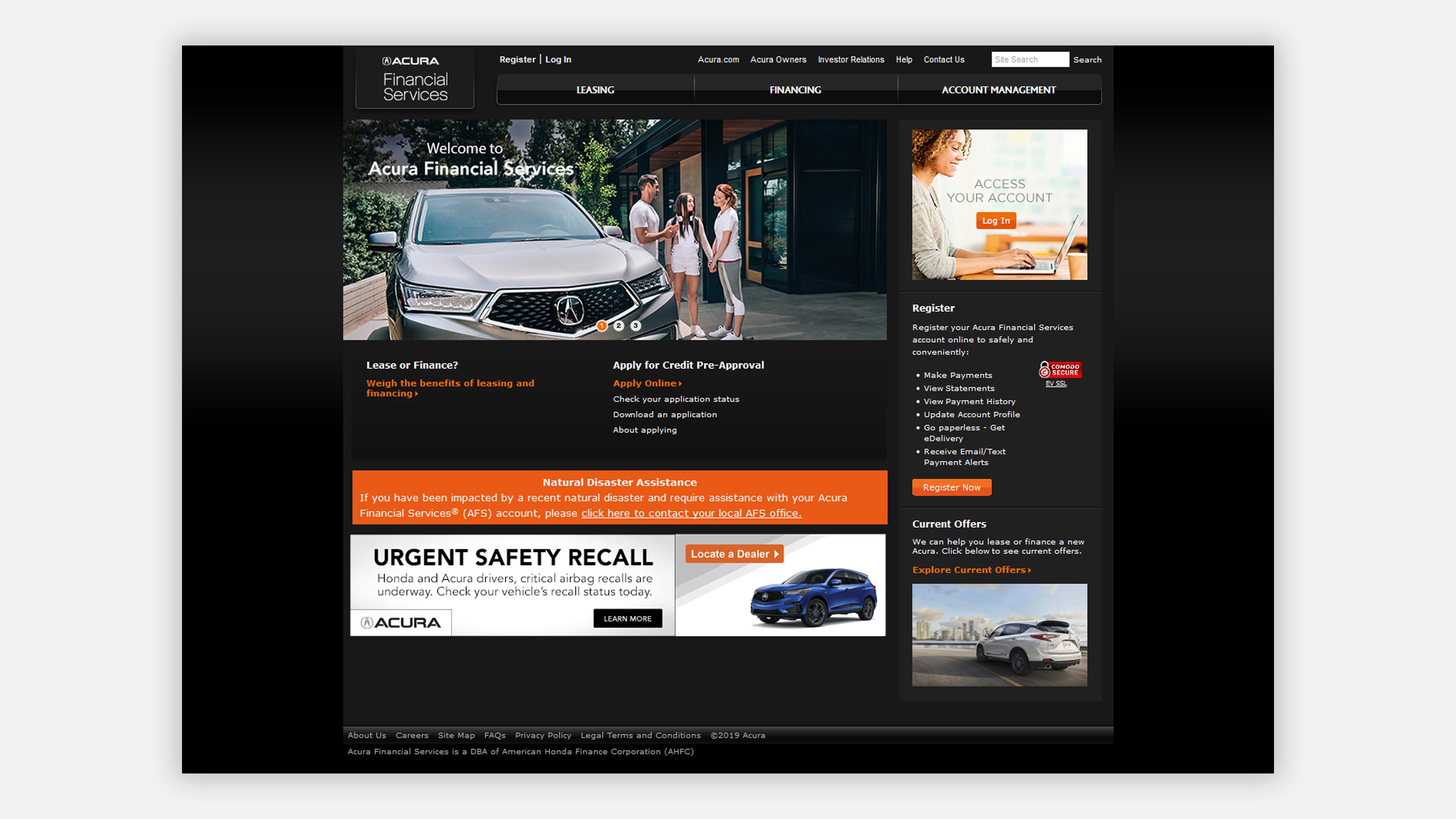 Acura financial services website on desktop